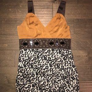 BeBe-Silk and Satin mini animal dress- Size M